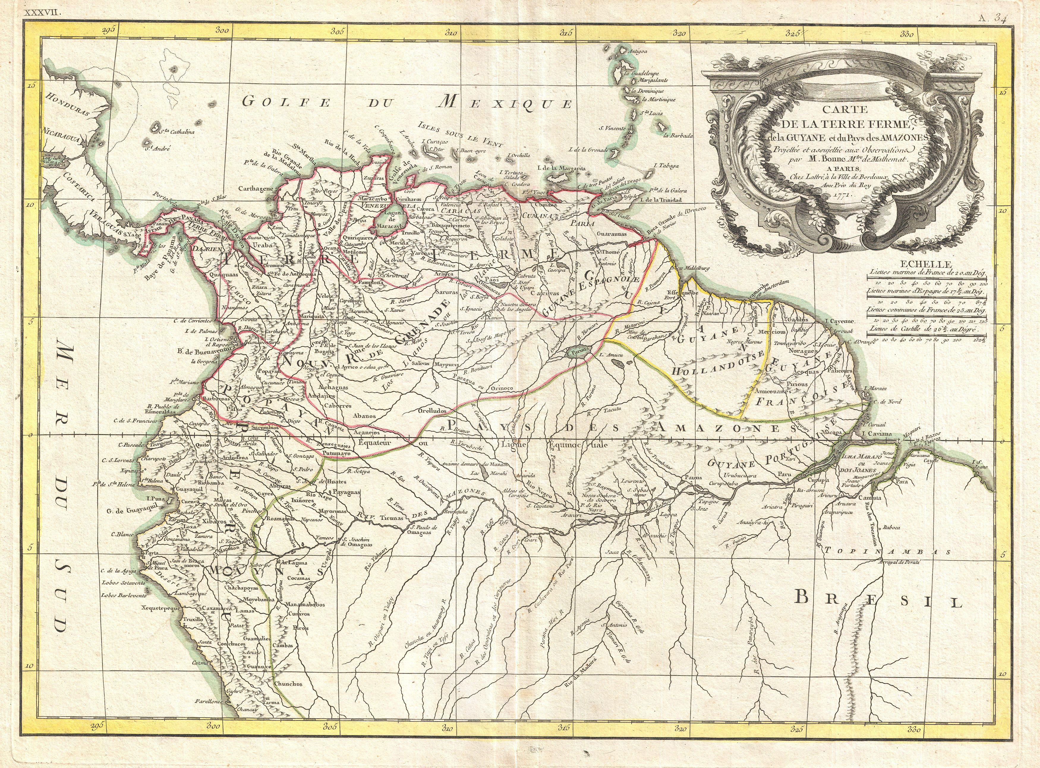 File 1771 Bonne Map of Tierra Firma or Northern South America Geographicus