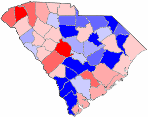 2002 South Carolina gubernatorial election map, by percentile by county. .mw-parser-output .legend{page-break-inside:avoid;break-inside:avoid-column}.mw-parser-output .legend-color{display:inline-block;min-width:1.25em;height:1.25em;line-height:1.25;margin:1px 0;text-align:center;border:1px solid black;background-color:transparent;color:black}.mw-parser-output .legend-text{}  65+% won by Sanford   60%-64% won by Sanford   55%-59% won by Sanford   50%-54% won by Sanford   50%-54% won by Hodges   55%-59% won by Hodges   60%-64% won by Hodges   65+% won by Hodges