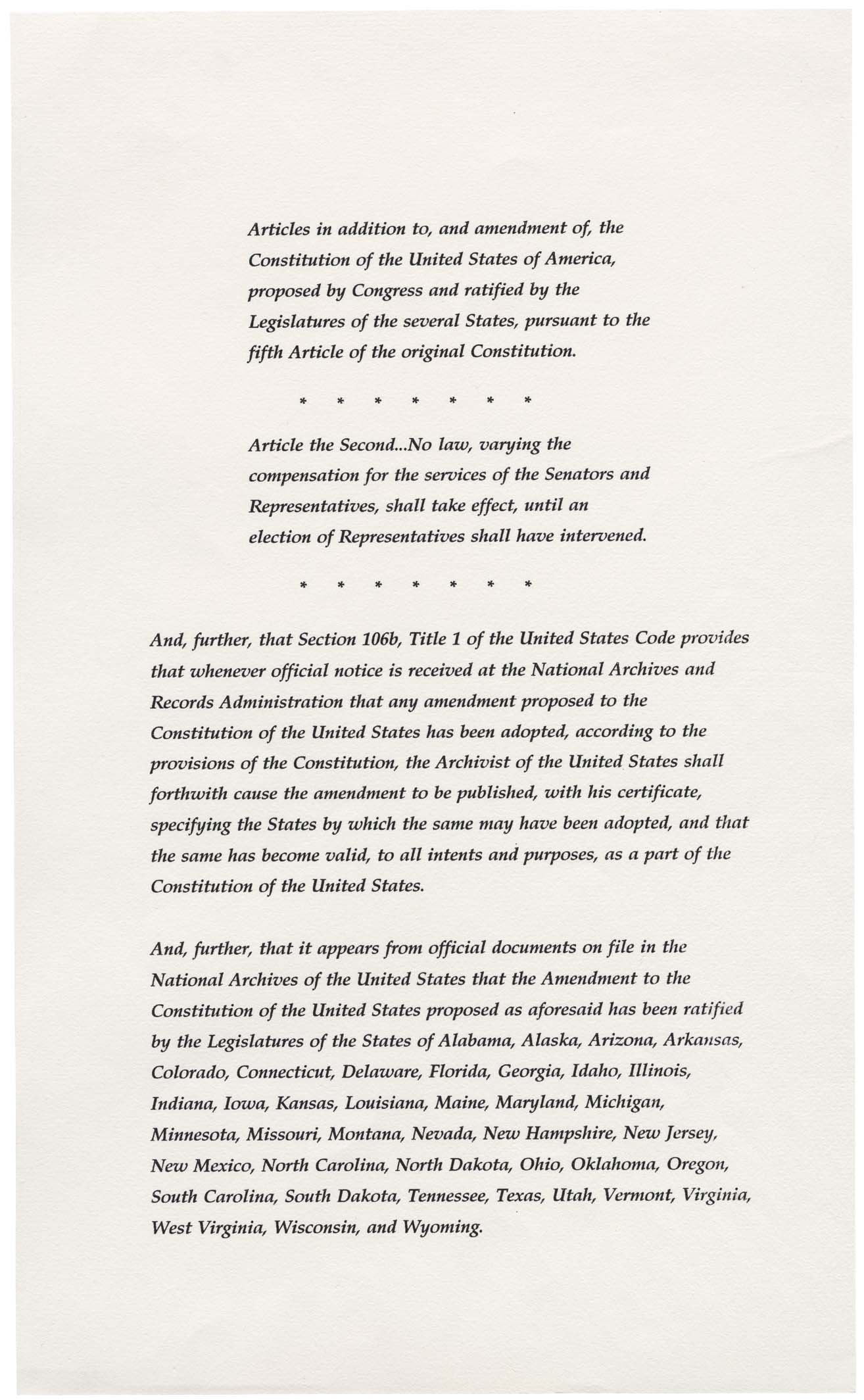 List of amendments to the United States Constitution