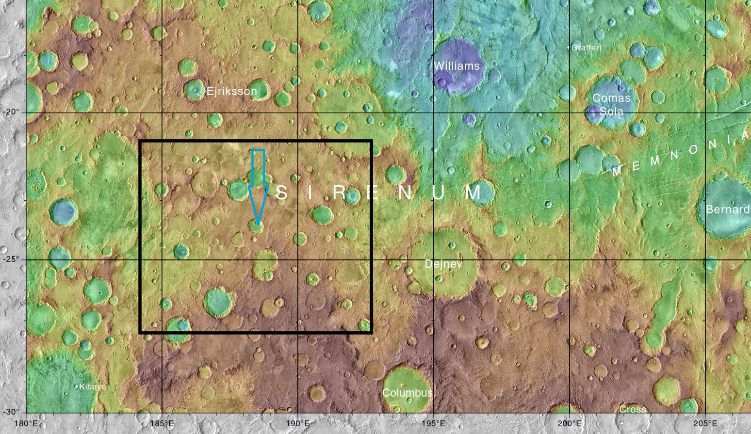 Map showing area covered in the above photos with a black rectangle. Blue arrow indicates the spot eventually imaged by HiRISE. The relative positions of Columbus Crater, Williams Crater, Ejriksson Crater, Dejnev Crater, and Bernard Crater are shown.