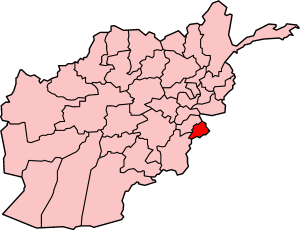 Map showing Khost province in Afghanistan