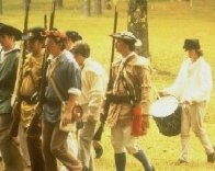 Re-enacting the 1771 Battle of Alamance from the War of the Regulation.