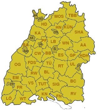 Landkreiskarte: Baden-Württemberg