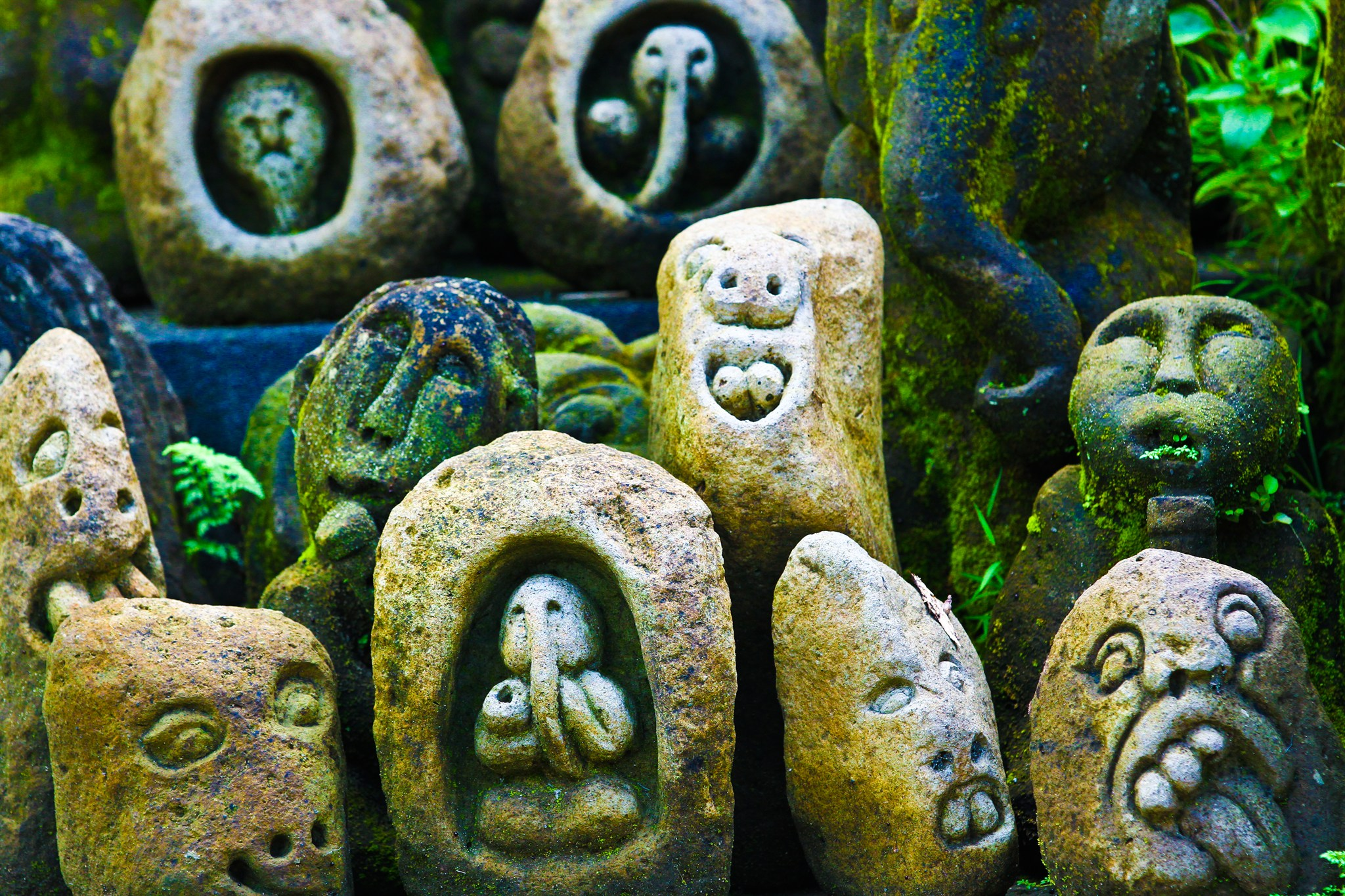 Shades of red — stone carvings on bali island