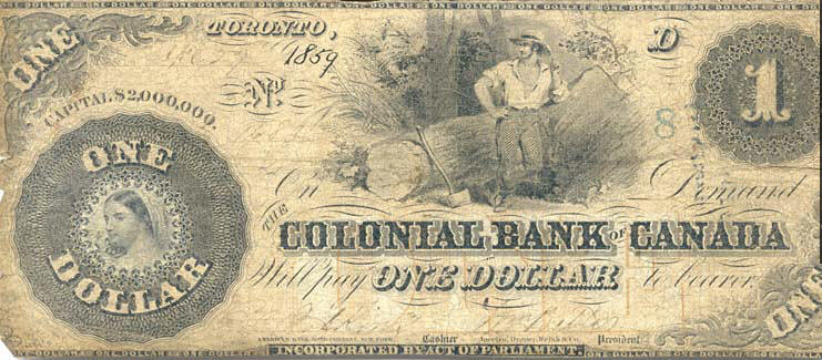 Banknote of the Colonial Bank of Canada