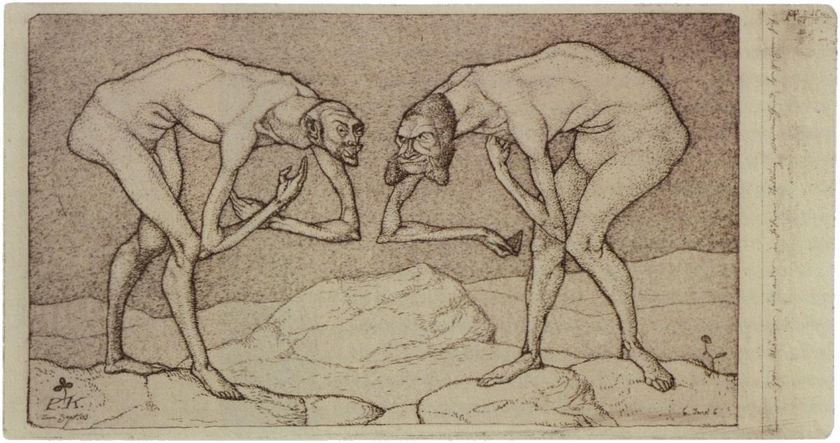 Paul Klee, 1903: Zwei Männer, einander in höherer Stellung vermutend, begegnen sich.