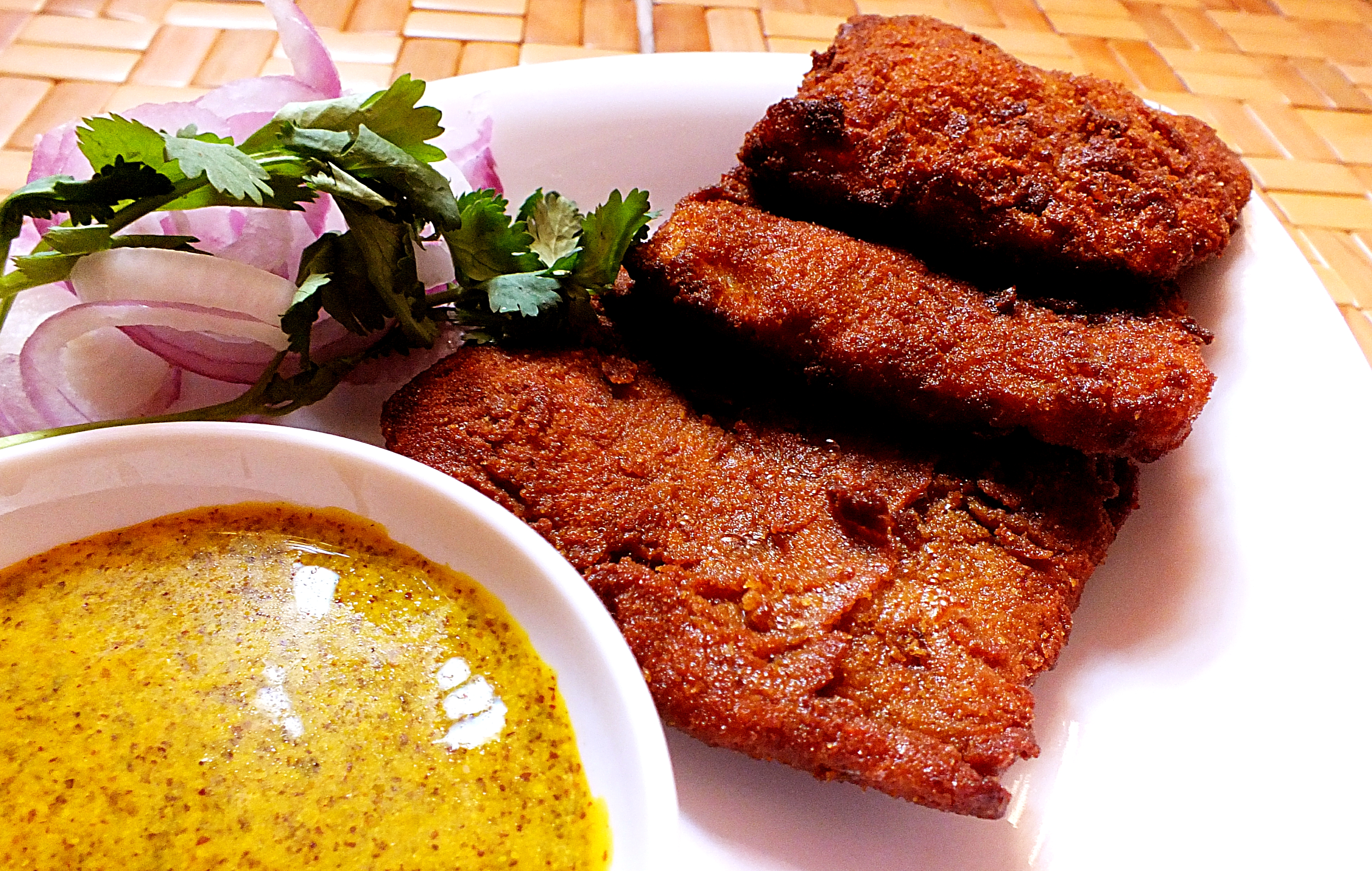 Image result for Fish cutlet AND MUSTARD SAUCE