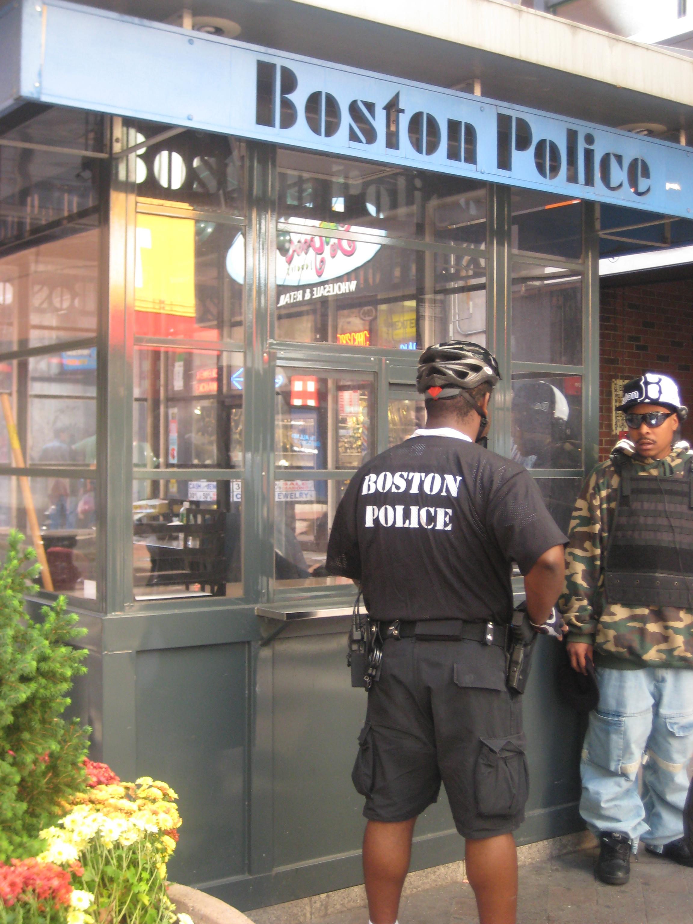Boston Police Department kiosk in Downtown Crossing