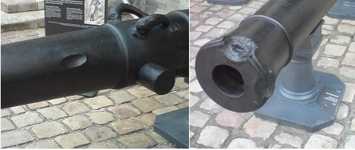 Cannons showing evidence of counter-battery fire