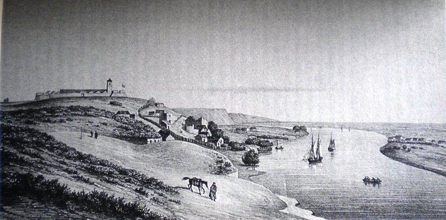 Vista panorámica de Carmen de Patagones (Argentina). Dibujo de 1829.Alcide d'Orbigny