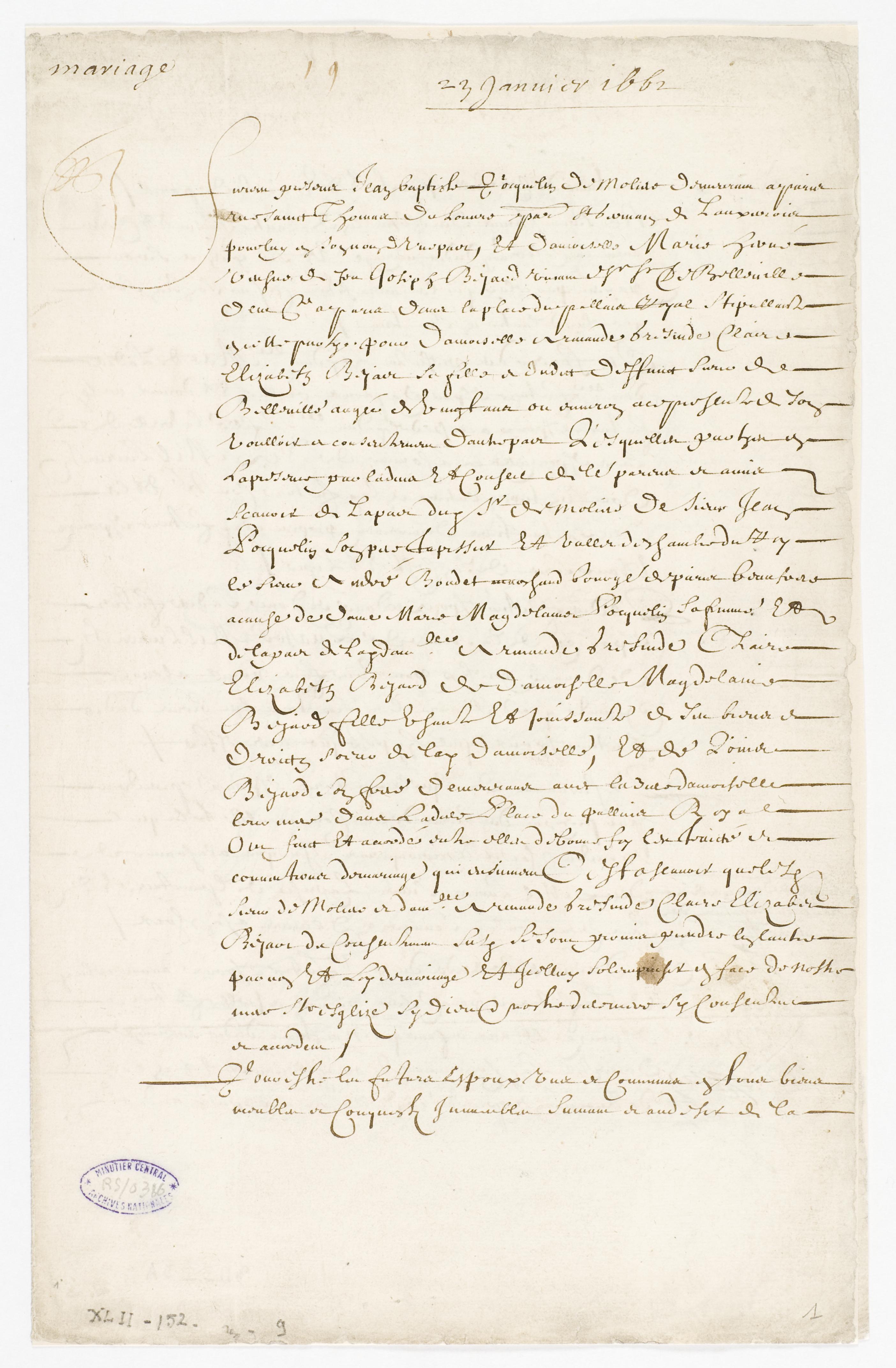 file contrat de mariage entre moli re et armande b jart 23 janvier 1662 page 1 archives. Black Bedroom Furniture Sets. Home Design Ideas