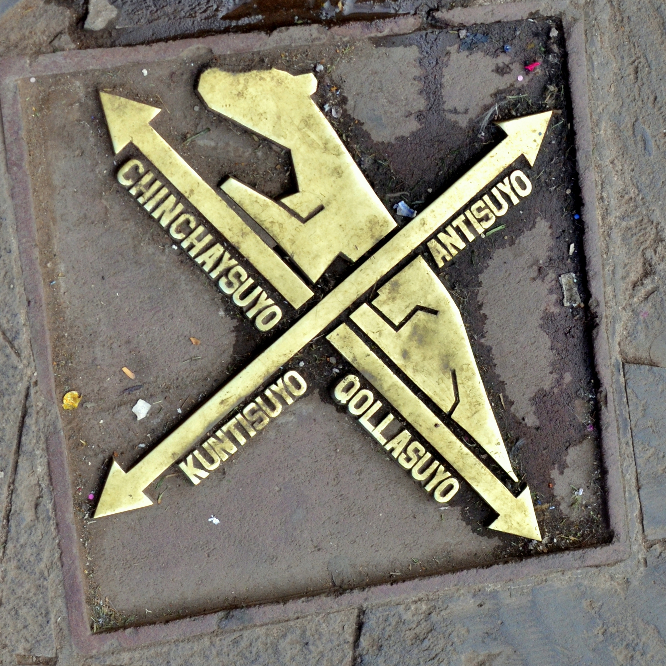 Cusco, Peru - plaque indicating the 4 directions of the 4 regions (suyus) of the Inka Empire