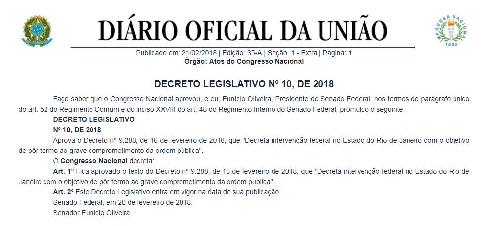 Veja o que saiu no Migalhas sobre Intervenção federal no Rio de Janeiro em 2018