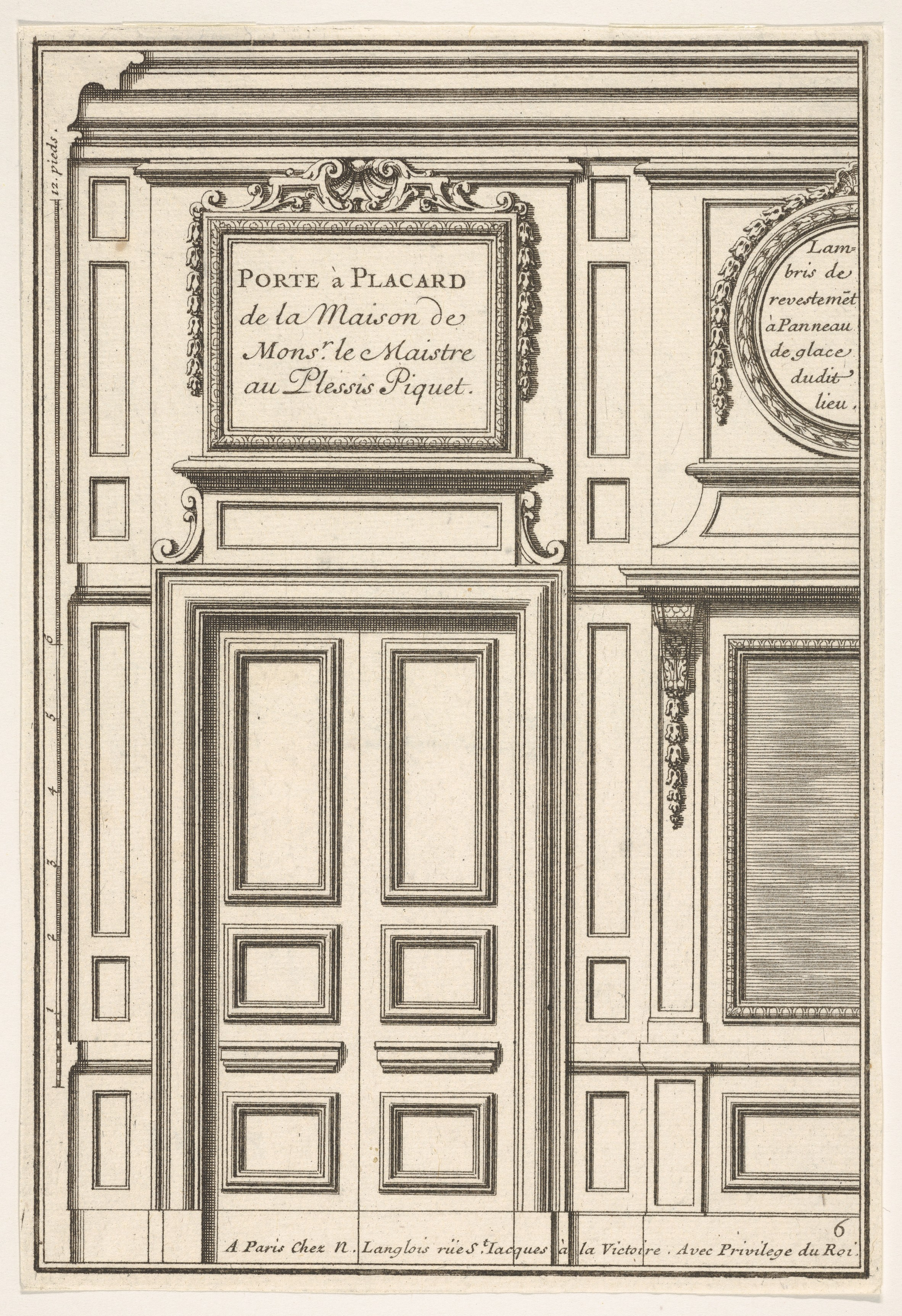 FileDoor and Part of the Wall Paneling with Mirrored Glass from the House of \u0027Monsieur le Maître\u0027 at Plessis Piquet plate VI from the Series \u0027Portes a ...  sc 1 st  Wikimedia Commons & File:Door and Part of the Wall Paneling with Mirrored Glass from ...