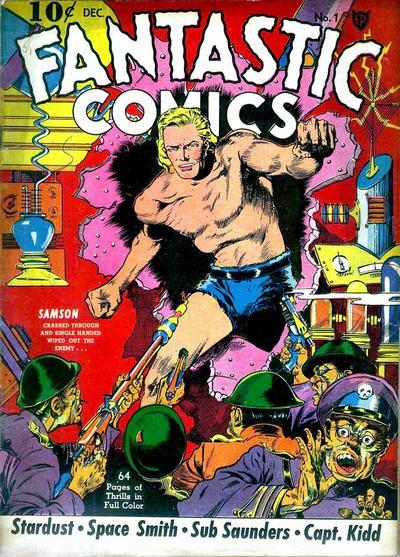 A common comic-book cover format displays the issue number, date, price and publisher along with an illustration and cover copy that may include a story's title. Fantastic Comics 1.jpg