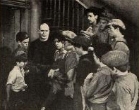O'Brien surrounded by his street urchins