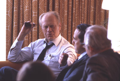 On July 16, 1980 (day 3 of the 1980 Republican National Convention) Gerald Ford consults with Bob Dole, Howard Baker and Bill Brock before making a decision to ultimately decline the offer to serve as Ronald Reagan's running mate Gerald Ford 1980 RNC AV95-4-(275-3)-1.jpg