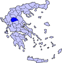Location of Trikala Prefecture in Greece