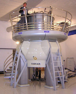 NMR Magnet at HWB-NMR, Birmingham, UK. In its strong 21.2-tesla field, the proton resonance is at 900 MHz. HWB-NMR - 900MHz - 21.2 Tesla.jpg