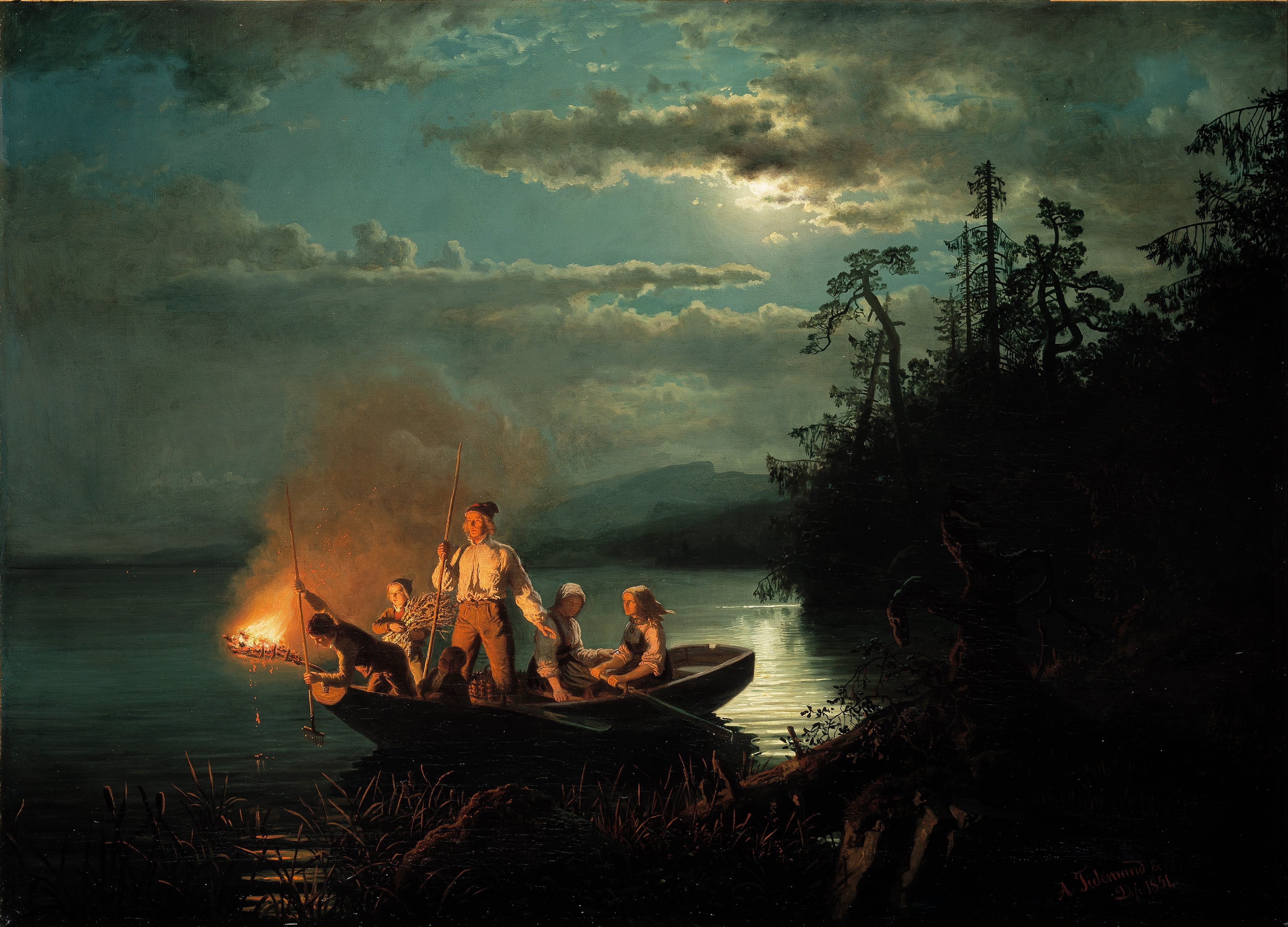 Nocturnal - the best nocturne paintings: Adolph Tidemand & Hans Gude, Fishing with a Harpoon