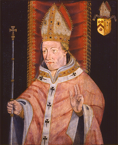 Portrait of Henry Chichele as Archbishop of Canterbury, with heraldic shield showing arms of Chichele impaling the arms of the See of Canterbury (usually the impalement is the inverse, with the arms of the see given the dexter position of honour) Henry Chichele.jpg