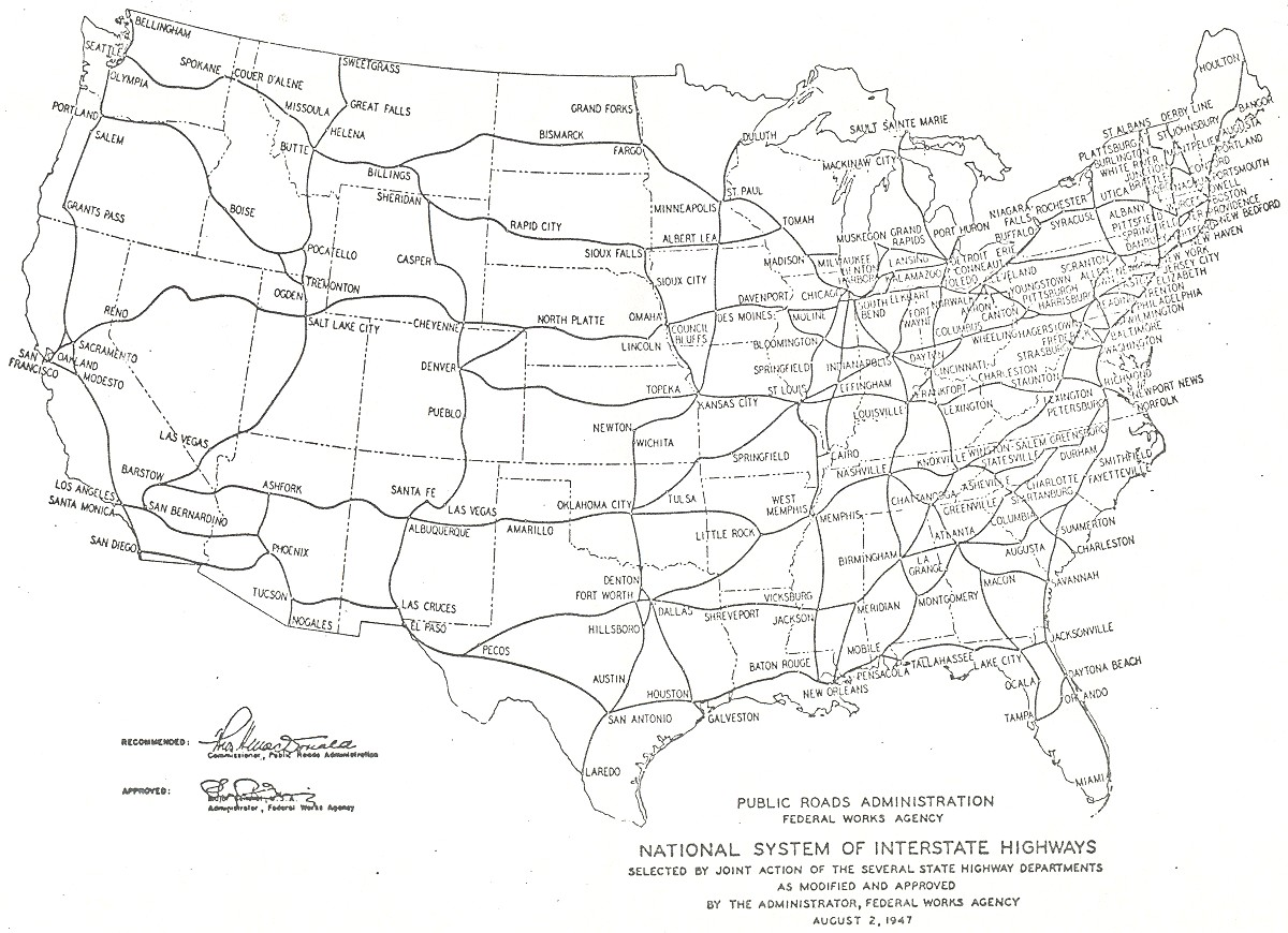Project 1947 Map Of Interstate Highways Digital Recreation - Map-of-the-us-interstate-system