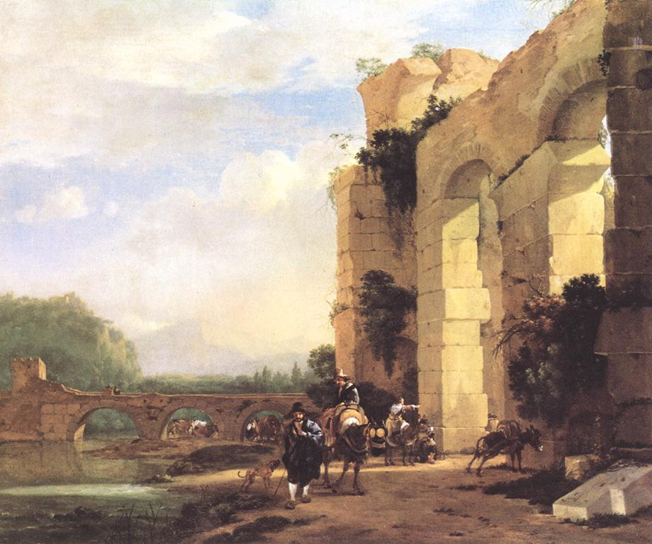 Landscape with the ruins of a roman bridge and aqueduct wga01026