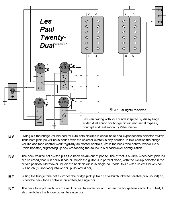 A Diagram Showing A Wiring Modification For A Les Paul Or A Similar Electric Guitar With Two