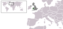 Wales's location within Europe