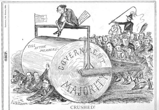 Titre original :    Description English: Political cartoon by John Wilson Bengough shoes the Conservative majority in Canada's House of Commons as a steamroller. Macdonald uses his parliamentary majority to roll to victory over Liberal leader Edward Blake. Date 1884(1884) Source The Grip, March 8, 1884, available here Author John Wilson Bengough, died 1923