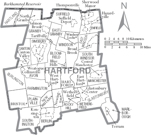 Filemap Of Hartford County Connecticut With Municipal