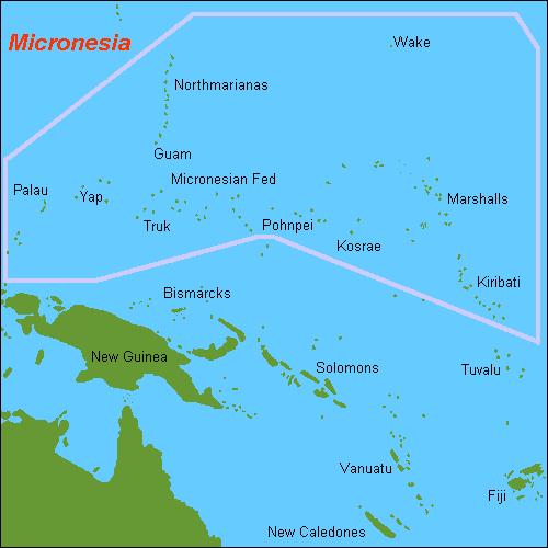 Map of Micronesia Oceania ww