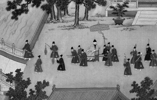 Ming Emperor Xuanzong with his imperial eunuchs