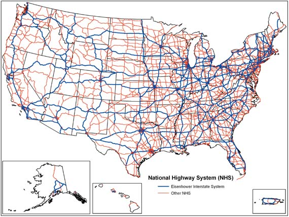 Us Map Freeways.National Highway System United States Wikipedia