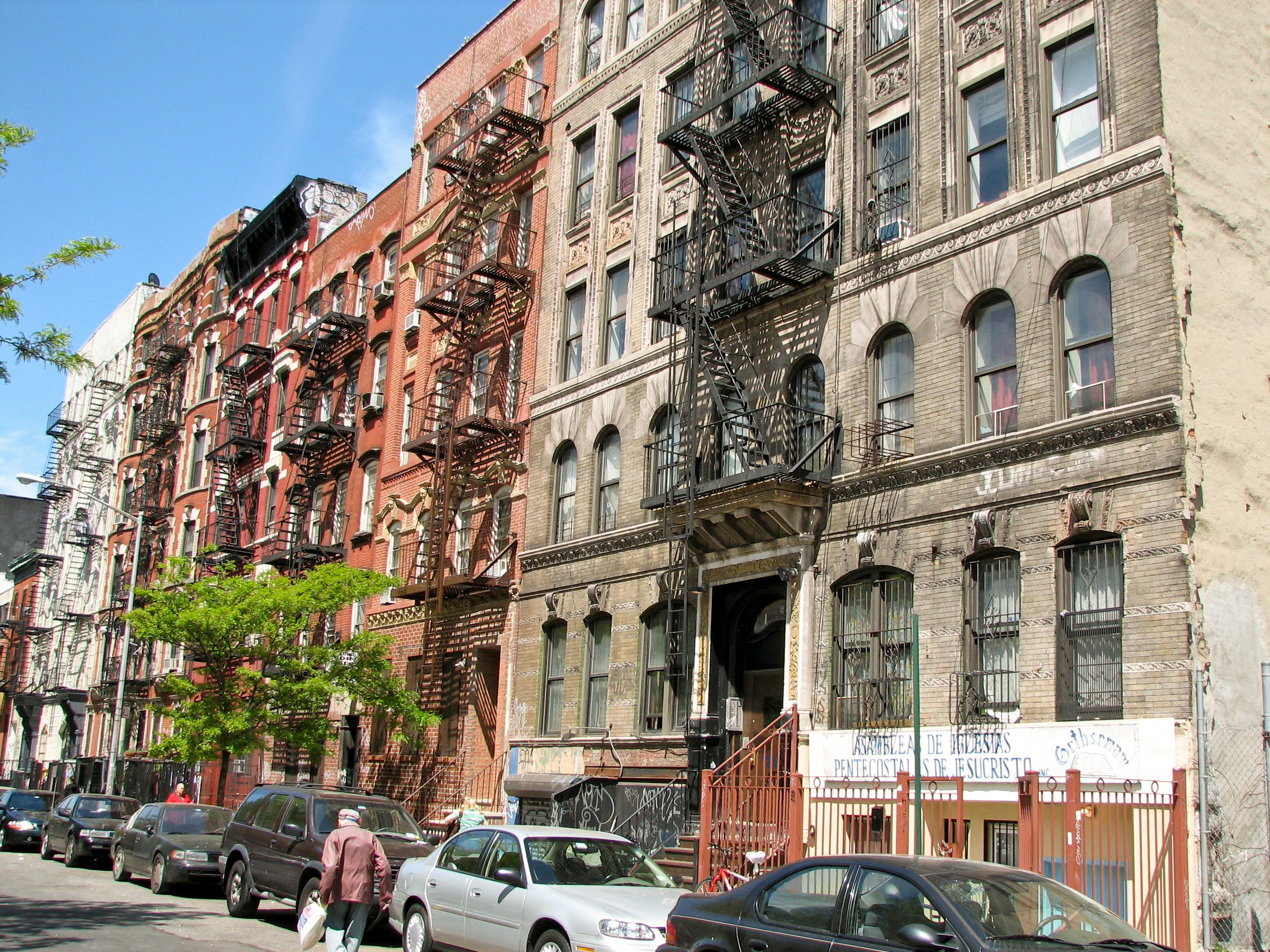 File New York City Houses With Fire Escapes Jpg Wikimedia Commons