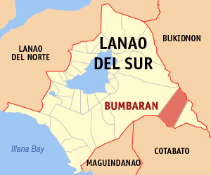 Map of Lanao del Sur showing the location of Bumbaran