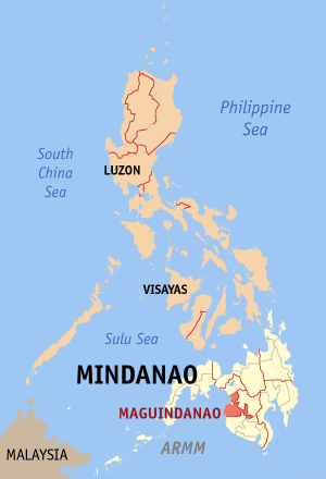 Мапа на Филипините со факти за Магуинданао highlighted