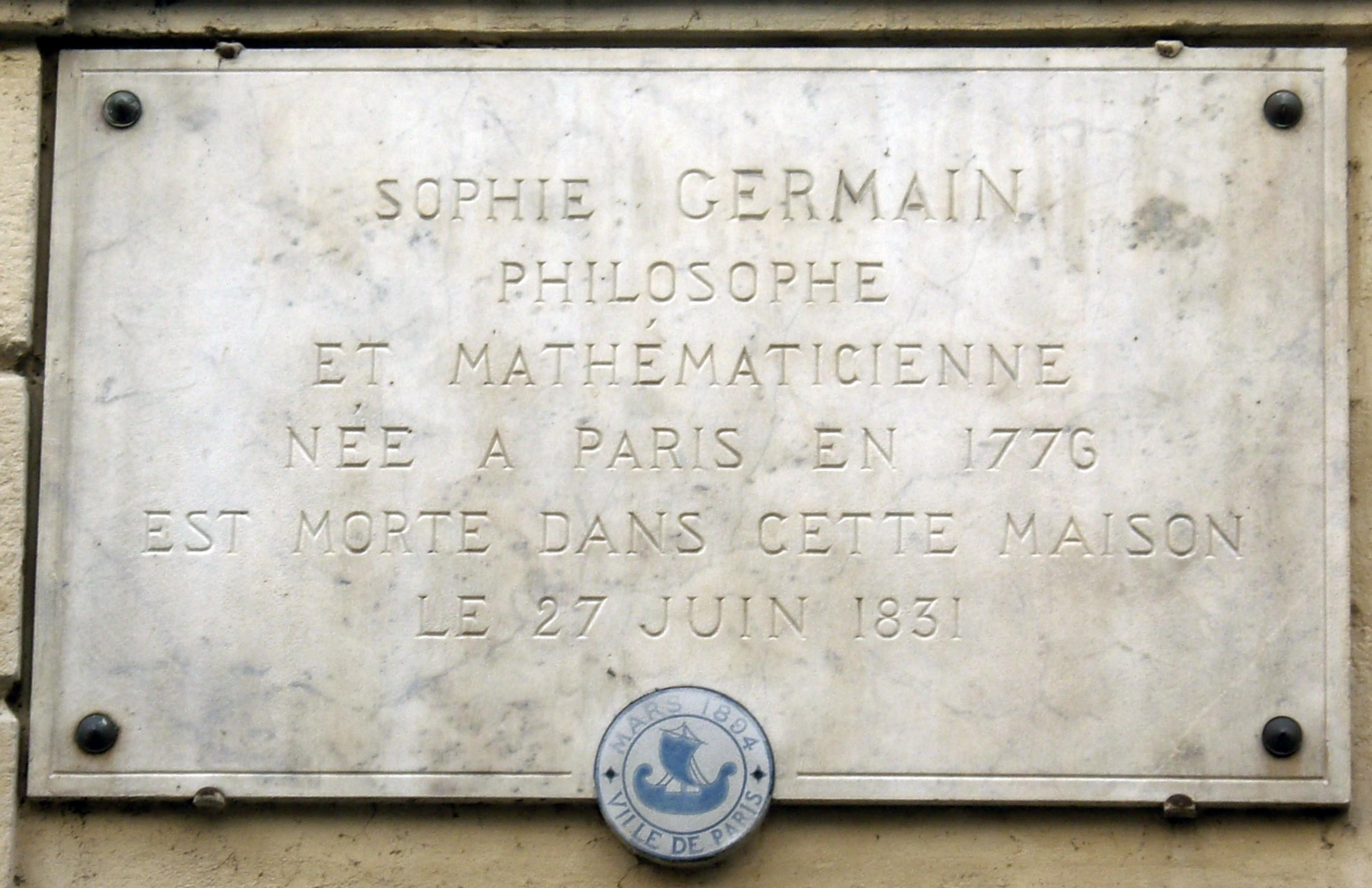 File Plaque Sophie Germain 13 Rue De Savoie Paris 6 Jpg