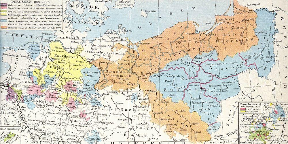 Gebietsverluste (violett, grün) und Gewinne (rot, gelb) des preußischen Staates in der Zeit des Untergangs des Heiligen Römischen Reichs bis 1806. Infolge der Verluste durch den Frieden von Tilsit 1807 verblieb bei Preußen das braun dargestellte Territorium