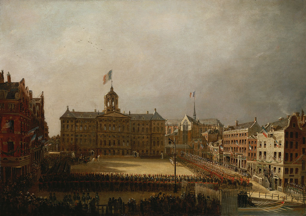 > Bandiera Tricolore del Palazzo Reale di Amsterdam. Tabella Van Bree.