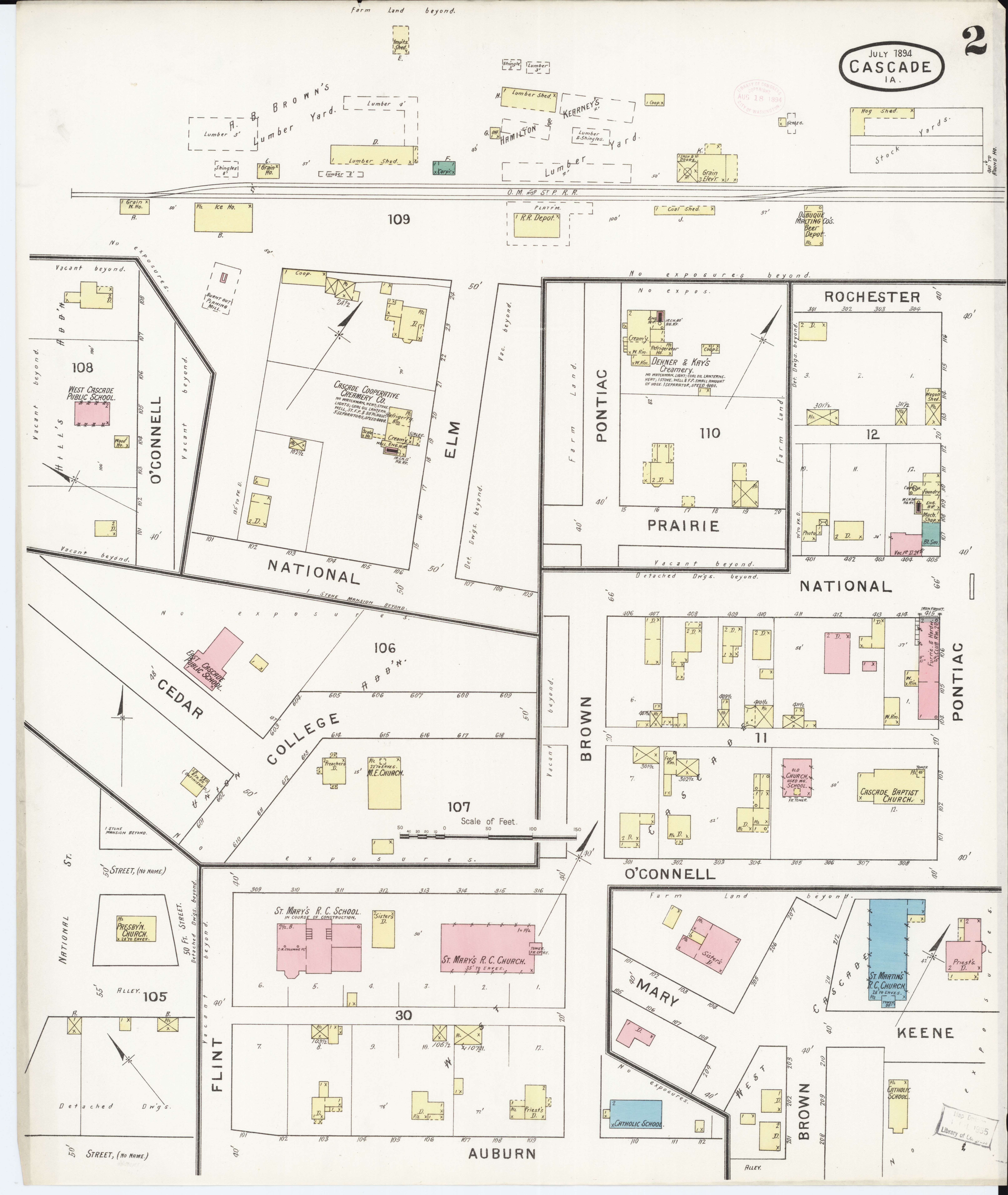 Cascade Iowa Map.File Sanborn Fire Insurance Map From Cascade Dubuque And Jones