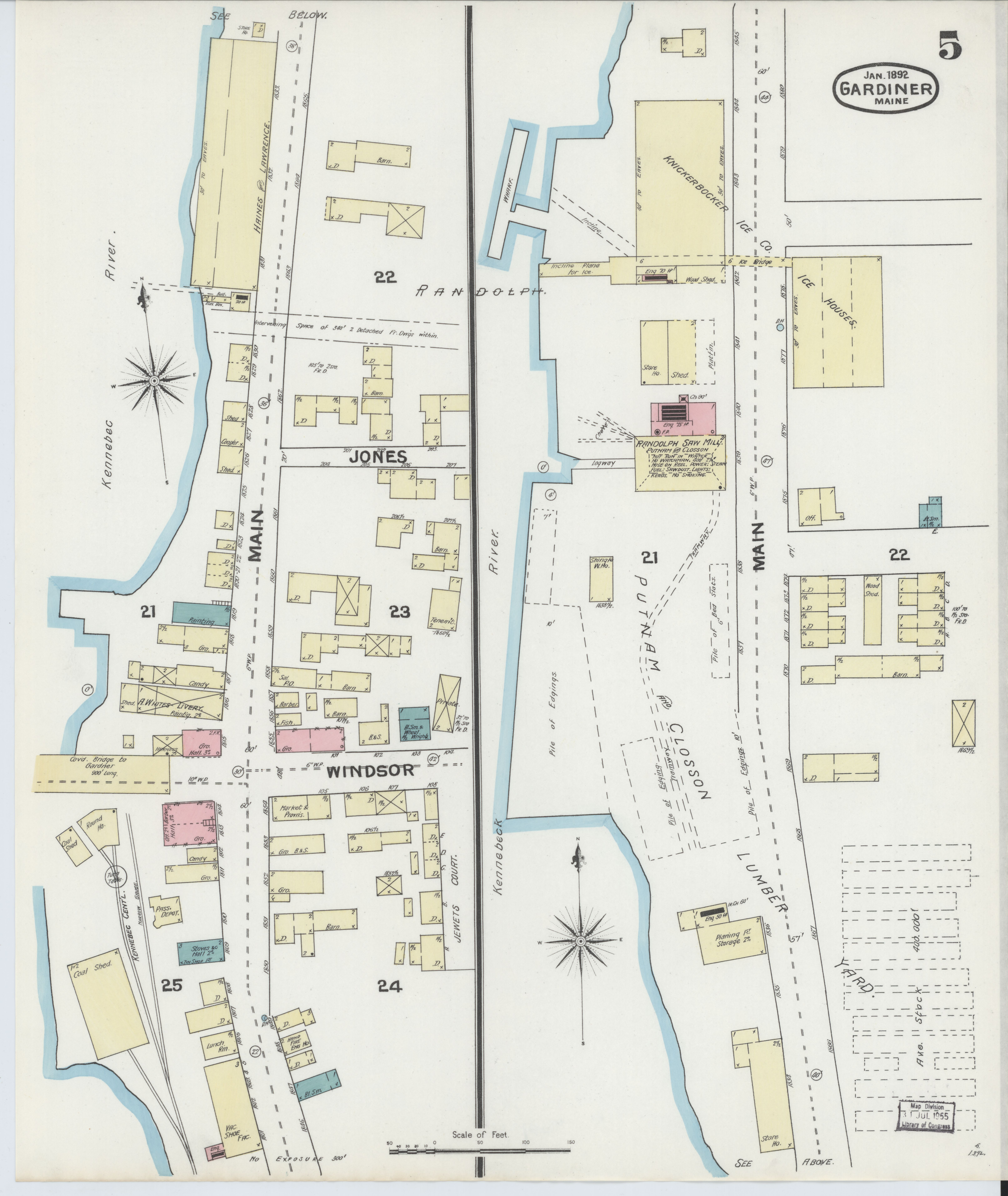 File:Sanborn Fire Insurance Map from Gardiner, Kennebec County ... on