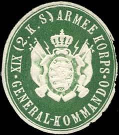 File:Siegelmarke General - Kommando XIX. (2. Königlich Sächsisches) Armee Korps W0238399.jpg
