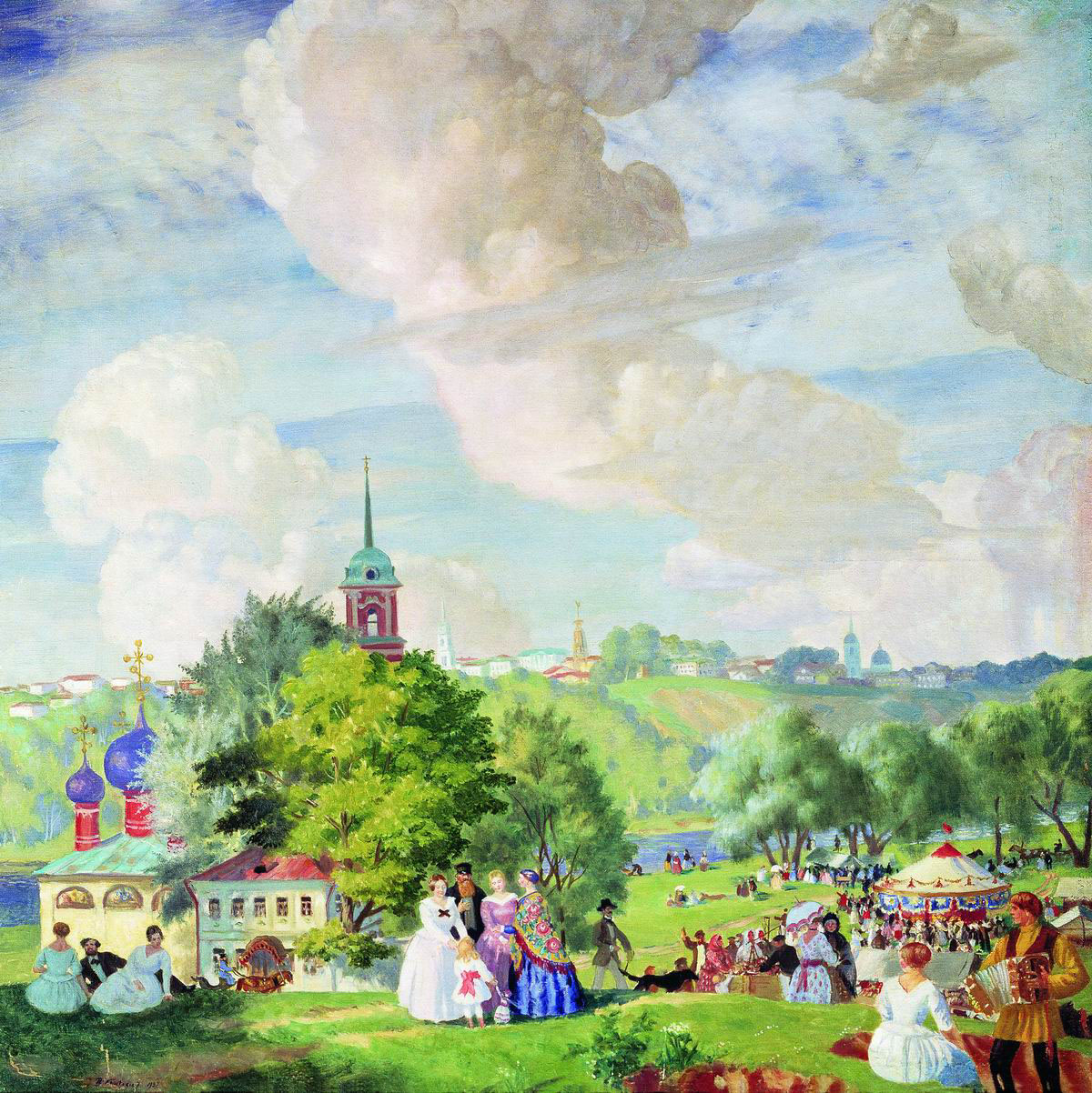 Description summer landscape. kustodiev