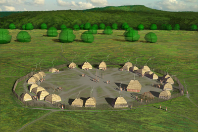 Artists conception of the Fort Ancient SunWatch Indian Village in Dayton Sunwatch Aerial illustration HRoe 2018 400px.jpg