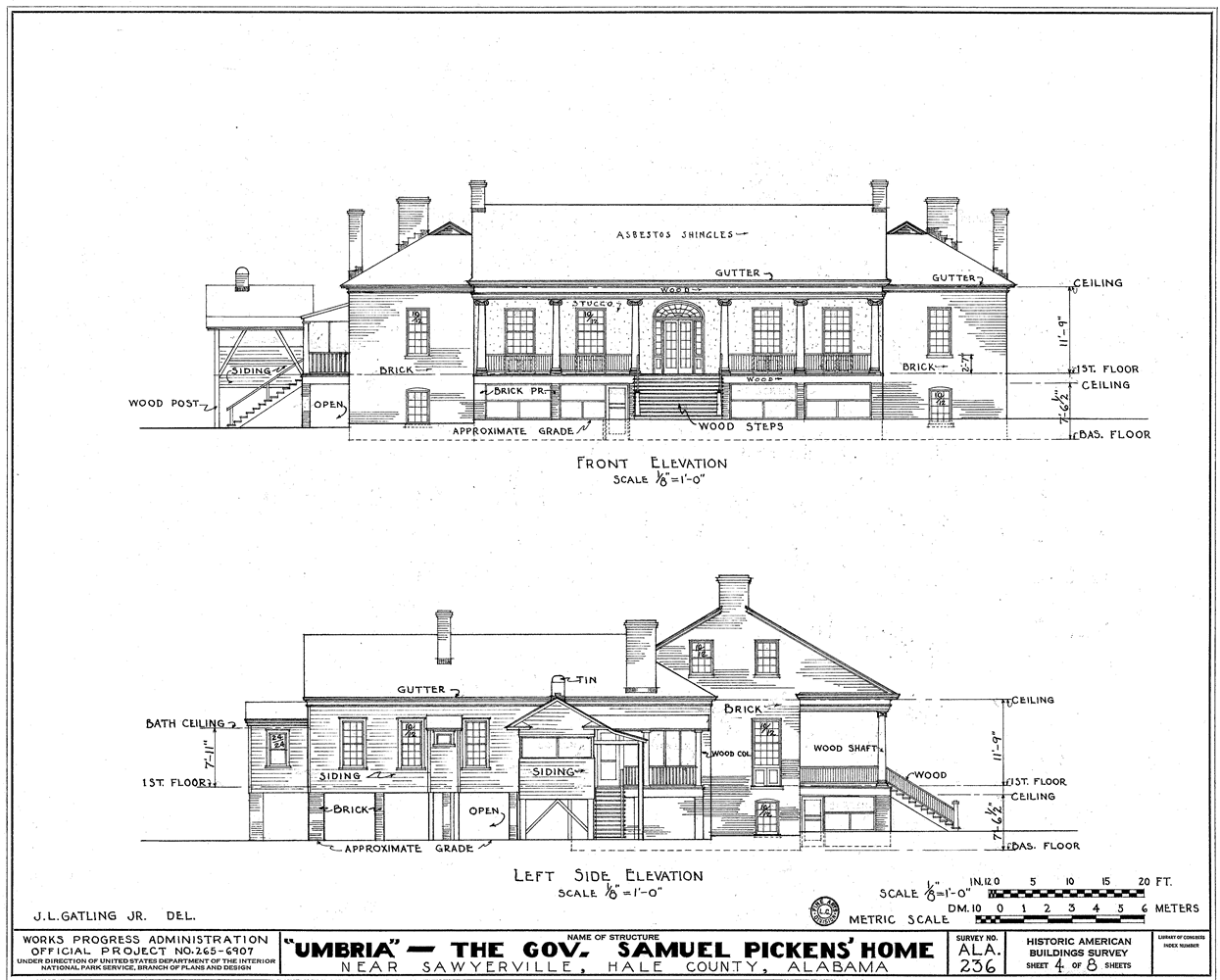 Simple Front Elevation Drawing : File umbria plantation architectural drawing of front