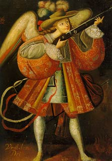 Archangel Uriel, anonymous, 18th century, Cuzco School, typical harquebus angel, likely by an indigenous artist Warriorangel.jpg