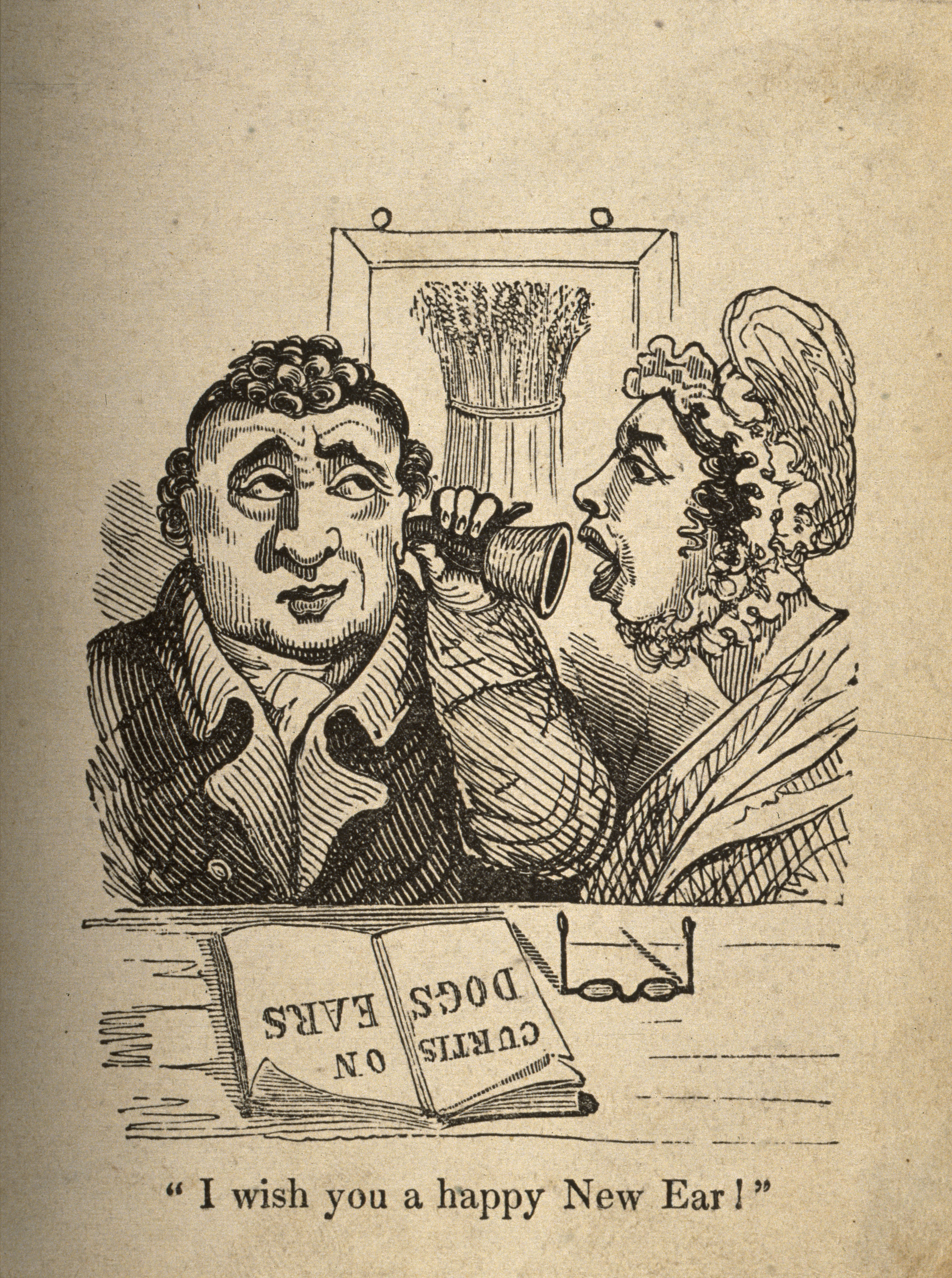File:A woman shouting into a man's ear-trumpet. Wood engraving. Wellcome V0011264.jpg