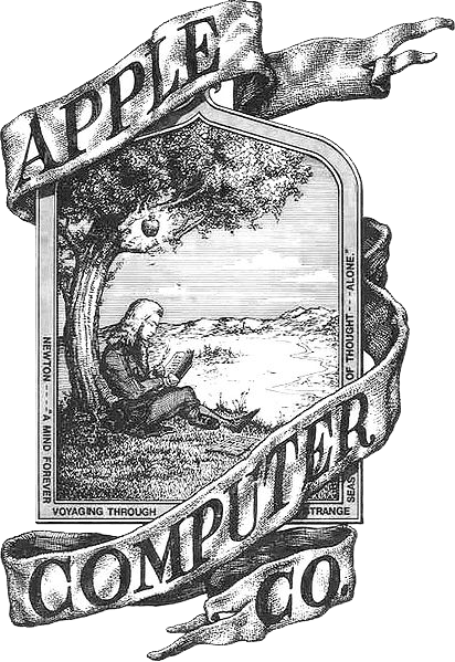 The original logo, featuring Isaac Newton sitting under an apple tree