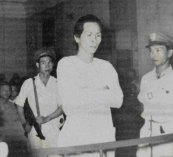 Ba Cut in Can Tho Military Court 1956, commander of religious movement the Hoa Hao, which had fought against the Viet Minh, Vietnamese National Army and Cao Dai movement throughout the first war Ba Cut Trial.jpg
